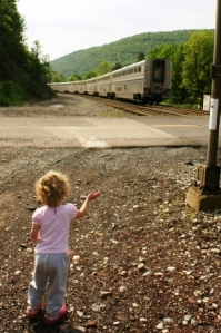 Waving to Amtrak