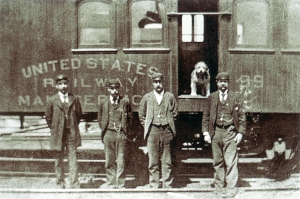Albany may have been home, but Owney was happy anywhere the mail and rails would take him. Image courtesy of National Postal Museum.