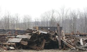 scrapped flatcars