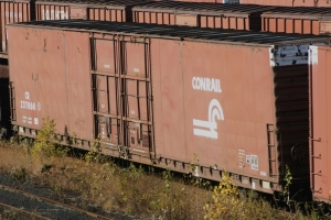 Conrail operated the largest fleet of autoparts boxcars with cars coming from its own predecessors and many purchased from other carriers. This is a former PRR car built by Pullman in 1966.